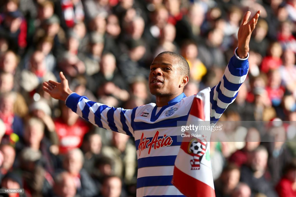Loic Remy of Queens Park Rangers celebrates his goal during the Barclays Premier League match between Southampton and Queens Park Rangers at St Mary's Stadium on March 2, 2013 in Southampton, England.