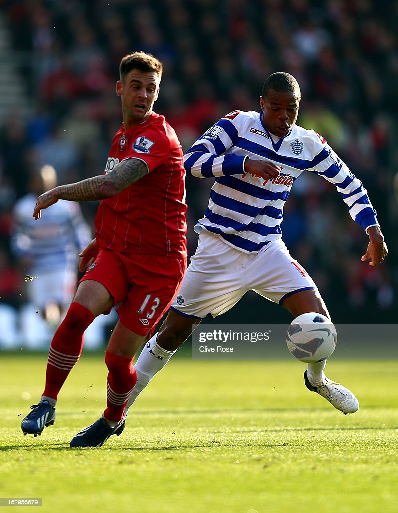 Loic Remy of Queens Park Rangers is challenged by Danny Fox of Southampton during the Barclays Premier League match between Southampton and Queens Park Rangers at St Mary's Stadium on March 2, 2013 in Southampton, England.