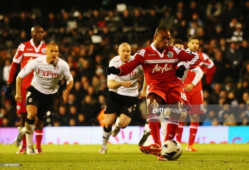 Loic Remy of Queens Park Rangers shoots and misses from the penalty spot during the Barclays Premier League match between Fulham and Queens Park Rangers at Craven Cottage on April 1, 2013 in London, England.