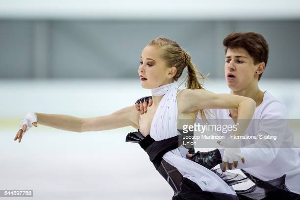 Loica Demougeot and Theo Le Mercier of France compete in the Junior Ice Dance Free Dance during day 3 of the Riga Cup ISU Junior Grand Prix of Figure...