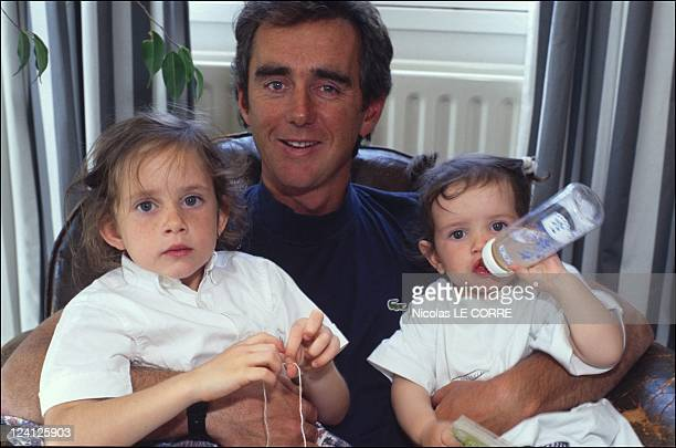Loick Peyron closeup In La Baule France On June 23 1995 With Marie and Margot
