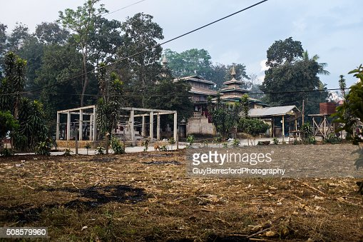 Loikaw wooden Monastery : Stock Photo