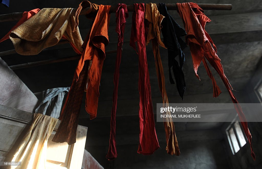 Loincoths of Indian wrestlers are seen hung out to dry at the Mahatma Phule Vyayam Mandir Kushti (traditional Indian wrestling) academy in Mumbai on February 13, 2013. Wrestlers around the world on Wednesday vowed to fight to save the ancient sport's Olympic status, after the International Olympic Committee voted to drop it for the 2020 Games. AFP PHOTO/Indranil MUKHERJEE
