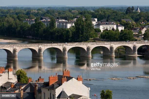 Loire river and Cessart bridge at Saumur commune in the MaineetLoire department Pays de la Loire region in western France