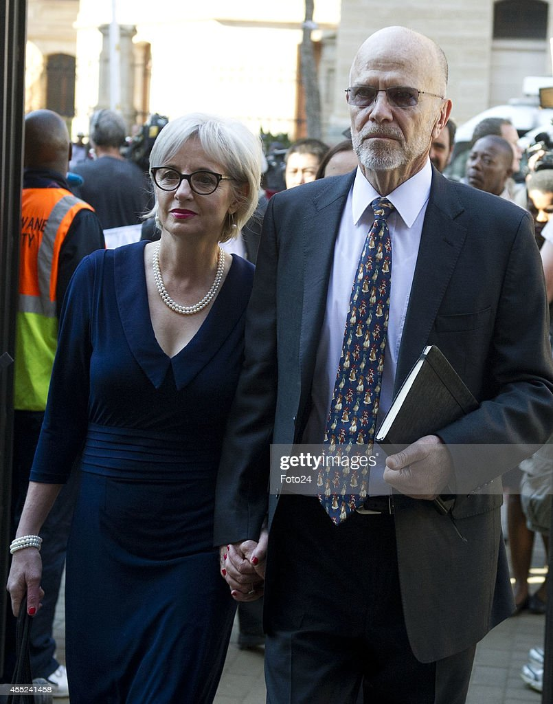 Lois and Arnold Pistorius arrive at the Pretoria High Court on September 11 in Pretoria South Africa Oscar Pistorius stands accused of the murder of...