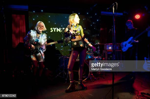 Lois MacDonald and Faith Vern of English rock band Pins performs on stage at Volksbuhne in Berlin Germany on November 19 2017