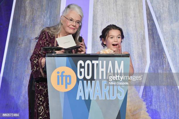 Lois Smith and Brooklyn Prince speak onstage during IFP's 27th Annual Gotham Independent Film Awards on November 27 2017 in New York City