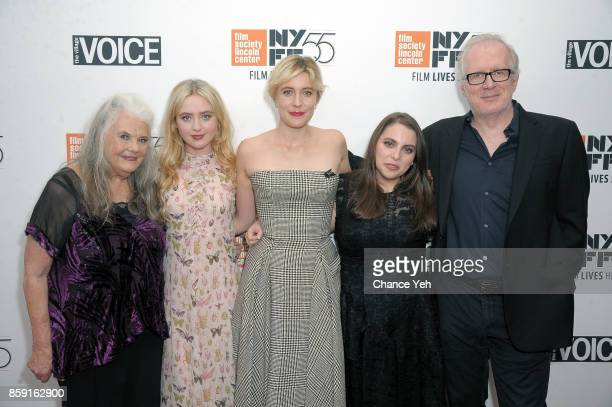 Lois Smith Greta Gerwig Kathryn Newton Beani Feldstein and Tracy Letts attend 'Lady Bird' screening during 55th New York Film Festival at Alice Tully...