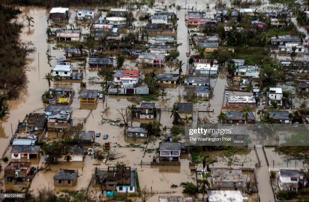 Aerial photo of the floadings in the costal town of Loiza, in the north shore of Puerto RicoHurricane Maria passed through Puerto Rico leaving behind a path of destruction across the national territory.