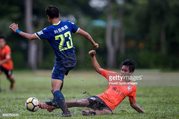 Lok Hin Tam of Sun Bus Yeun Long fights for the ball with Chi Lun Yeung of BC Rangers during the Hong Kong Premier League Week 4 match between BC...