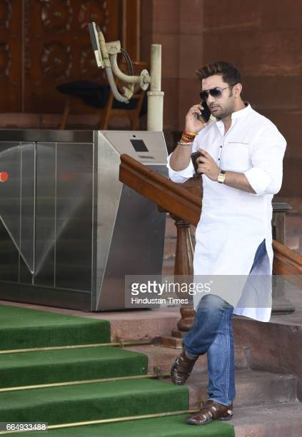 Lok Janshakti Party MP Chirag Paswan after attending the Parliament Budget Session on April 5 2017 in New Delhi India Employees suffering injury in...