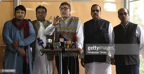 TMC Lok Sabha and Rajya Sabha MPs address media persons after protest on the Aadhar Card issue during the Parliament Budget Session on March 16 2016...