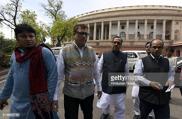 TMC Lok Sabha and Rajya Sabha MPs after protest on the Aadhar Card issue during the Parliament Budget Session on March 16 2016 in New Delhi India...