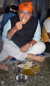 Lok Sabha Candidate Arun Jaitley partaking langar at Golden Temple on March 18 2014 in Amritsar India Contesting his firstever parliamentary...