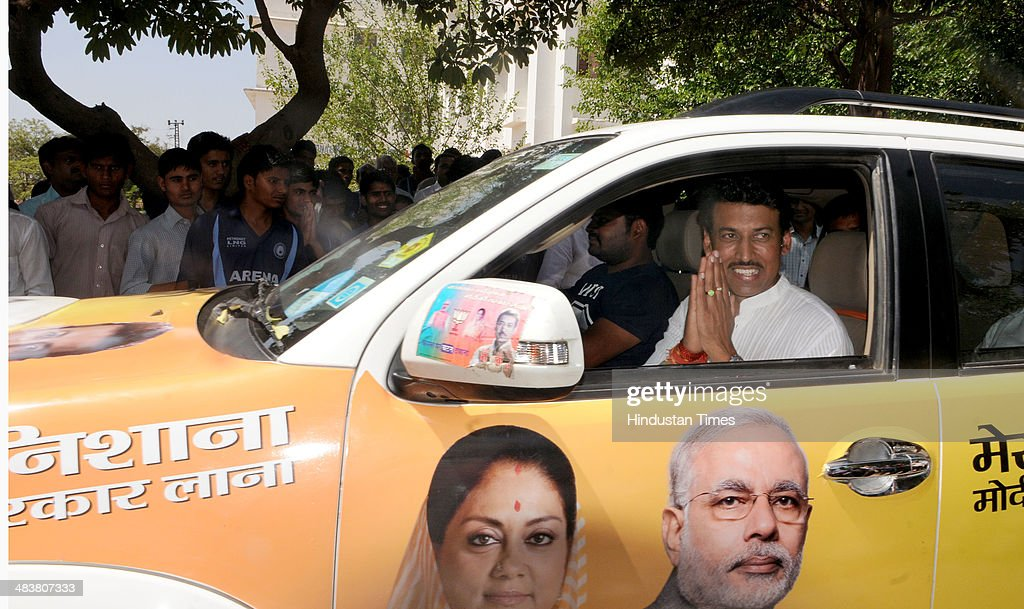 BJP Lok Sabha candidate for Jaipur Rural Constituency, Colonel Rajyavardhan Singh Rathore campaigning in Kukas village on Thursday, April 10, 2014 in Jaipur, India.