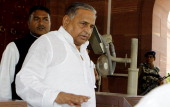 Lok Sabha MP and Samajwadi Party chief Mulayam Singh Yadav is seen after attending the ongoing budget session at parliament House on May 9 2012 in...