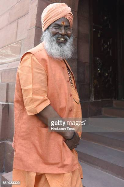 Lok Sabha MP Sakshi Maharaj arrives for attending the Parliament Budget Session on April 5 2017 in New Delhi India Employees suffering injury in...