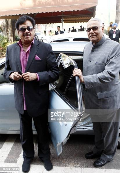 Lok Sabha MP Shatrughan Sinha and Yashwant Sinha arrive to attend inaugural day of the Budget session of Parliament on Monday February 21 2011 in New...