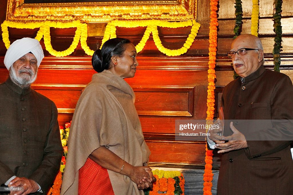 Lok Sabha Speaker Meera Kumar and BJP senior leader LK Advani during the Lala Lajpat Rai Birth Anniversary at Central Hal Parliament House on January 28, 2013 in New Delhi, India.