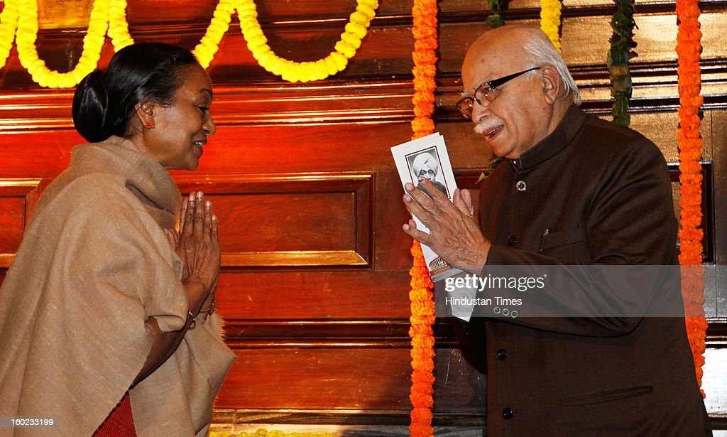 Lok Sabha Speaker Meera Kumar and BJP senior leader LK Advani greets each other during the Lala Lajpat Rai Birth Anniversary at Central Hal Parliament House on January 28, 2013 in New Delhi, India.