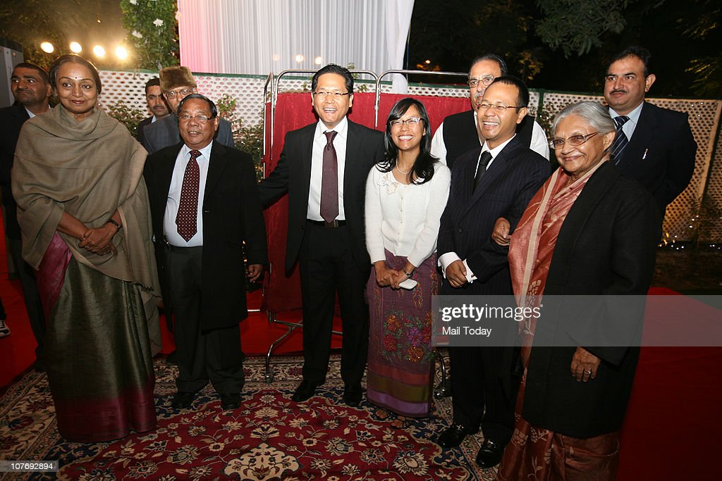 Lok Sabha Speaker Meira Kumar PA Sangma Agatha Sangma and Delhi CM Sheila dikshit during the preChristmas party organized by the Sangma family at the...