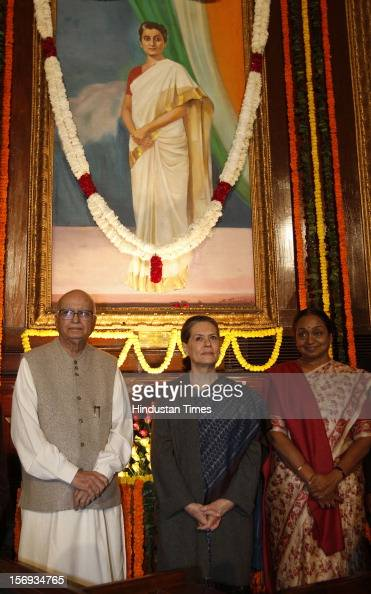 Lok Sabha Speaker Meira Kumar UPA Chairperson Sonia Gandhi and BJP senior leader L K Advani after paying tributes to the former Prime Minister Indira...