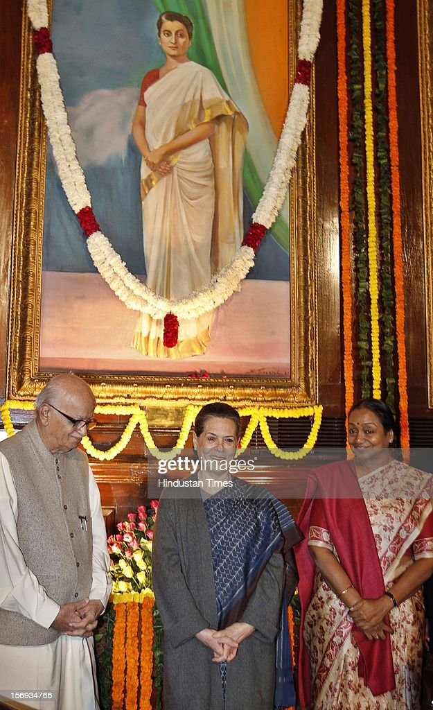 Lok Sabha Speaker Meira Kumar, UPA Chairperson Sonia Gandhi and BJP senior leader L K Advani after paying tributes to the former Prime Minister Indira Gandhi on her 95th birth anniversary at Parliament House on November 19, 2012, in New Delhi, India.