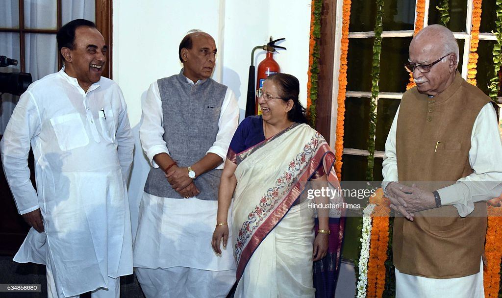 Loksabha Speaker Sumitra Mahajan, BJP leader L K Advani, Home Minister Rajnath Singh and party MP Subramanium Swami and others after paying tribute to right-wing ideologue Veer Savarkar on his 133 birth anniversary, at Central Hall of Parliament House, on May 28, 2016 in New Delhi, India. Born on May 28, 1883 in Nashik in Maharashtra, Vinayak Damodar Savarkar, later known as Swatantraveer Savarkar, was a revolutionary and Hindu nationalist who was imprisoned by the British in the Cellular Jail in Andaman and Nicobar Islands.