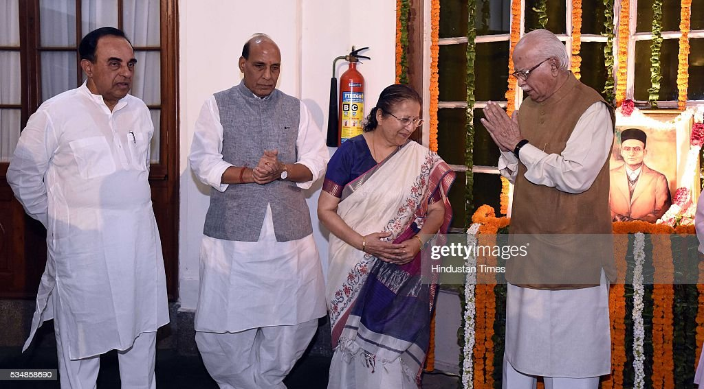 Loksabha Speaker Sumitra Mahajan, BJP leader L K Advani, Home Minister Rajnath Singh and party MP Subramanium Swami after paying tribute to right-wing ideologue Veer Savarkar on his 133 birth anniversary, at Central Hall of Parliament House, on May 28, 2016 in New Delhi, India. Born on May 28, 1883 in Nashik in Maharashtra, Vinayak Damodar Savarkar, later known as Swatantraveer Savarkar, was a revolutionary and Hindu nationalist who was imprisoned by the British in the Cellular Jail in Andaman and Nicobar Islands.