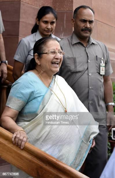 Lok Sabha Speaker Sumitra Mahajan having light moment with media persons after attending the Parliament Budget Session on April 12 2017 in New Delhi...