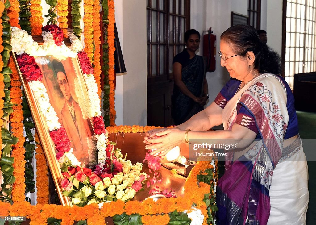 Lok Sabha Speaker Sumitra Mahajan paying tribute to right-wing ideologue Veer Savarkar on his 133 birth anniversary, at Central Hall of Parliament House, on May 28, 2016 in New Delhi, India. Born on May 28, 1883 in Nashik in Maharashtra, Vinayak Damodar Savarkar, later known as Swatantraveer Savarkar, was a revolutionary and Hindu nationalist who was imprisoned by the British in the Cellular Jail in Andaman and Nicobar Islands.