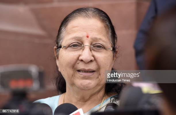 Lok Sabha Speaker Sumitra Mahajan talking to media persons after attending the Parliament Budget Session on April 12 2017 in New Delhi India Members...