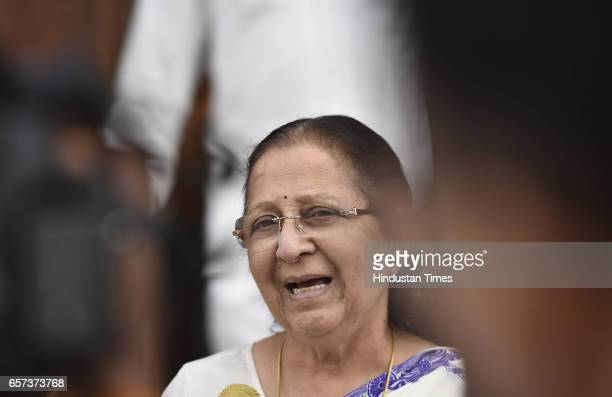 Lok Sabha Speaker Sumitra Mahajan talking to media persons on the issue of Shiv Sena MP Ravindra Gaikwad who admitted to thrashing an elderly Air...