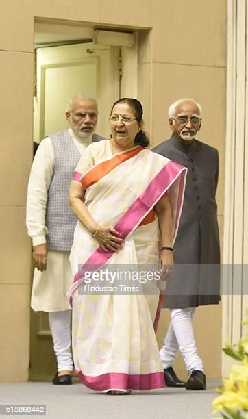 Lok Sabha Speaker Sumitra Mahajan Vice President of India Mohammad Hamid Ansari and Prime Minister Narendra Modi during an inauguration of a National...