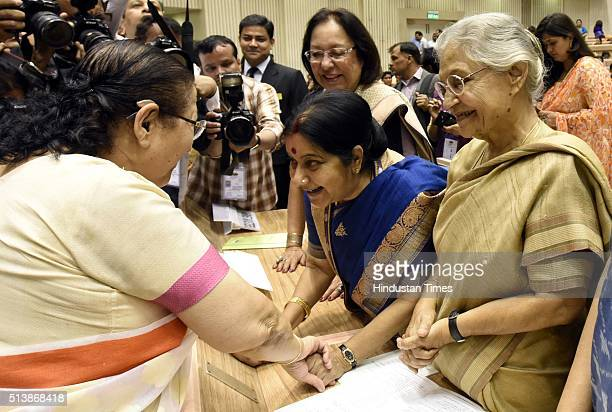 Lok Sabha Speaker Sumitra Mahajan with Minister of External Affairs Sushma Swaraj Former Chief Minister of Delhi Sheila Dixit Minister of Minority...