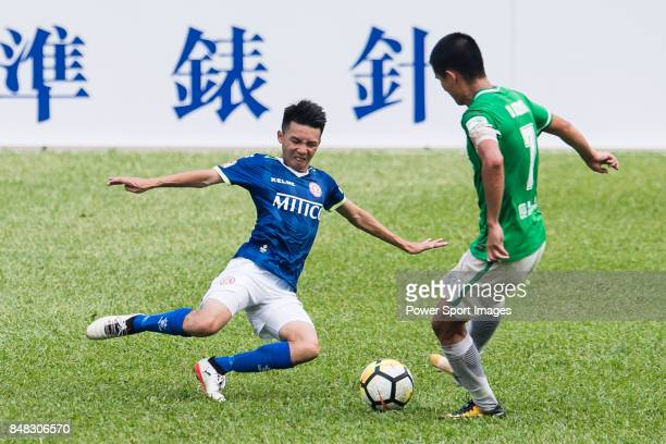 Lok Yin Lai of Rangers fights for the ball with Wai Wong of Wofoo Tai Po during the week three Premier League match between BC Rangers and Wofoo Tai...