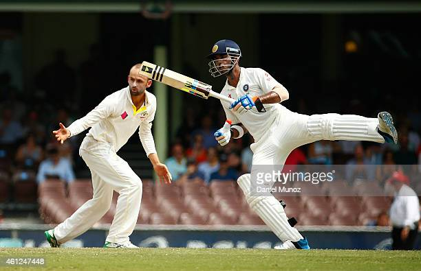 Lokesh Rahul of India avoids a ball during day five of the Fourth Test match between Australia and India at Sydney Cricket Ground on January 10 2015...