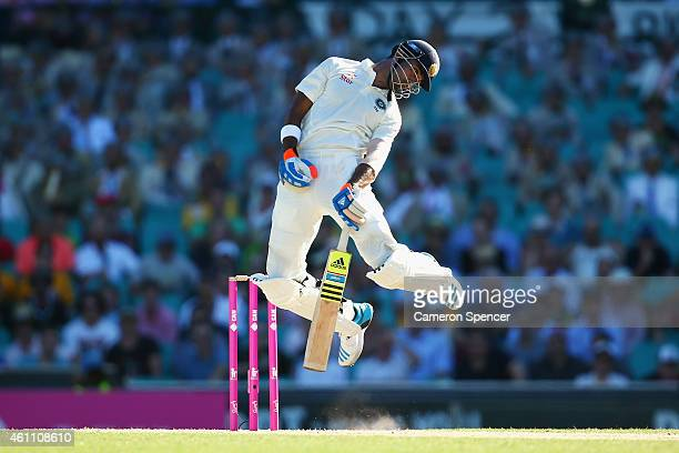 Lokesh Rahul of India avoids a bouncer during day two of the Fourth Test match between Australia and India at Sydney Cricket Ground on January 7 2015...