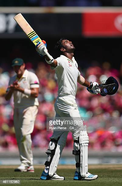 Lokesh Rahul of India celebrates after reaching his century during day three of the Fourth Test match between Australia and India at Sydney Cricket...