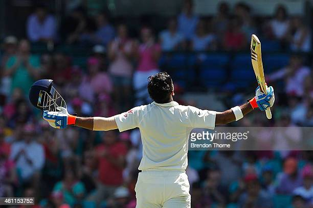 Lokesh Rahul of India celebrates scoring his century during day three of the Fourth Test match between Australia and India at Sydney Cricket Ground...