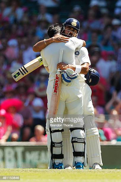 Lokesh Rahul of India celebrates with team mate Virat Kohli after scoring his century during day three of the Fourth Test match between Australia and...