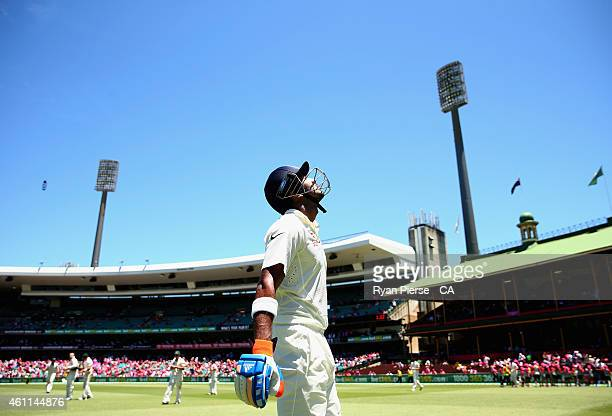 Lokesh Rahul of India walks out to bat during day three of the Fourth Test match between Australia and India at Sydney Cricket Ground on January 8...
