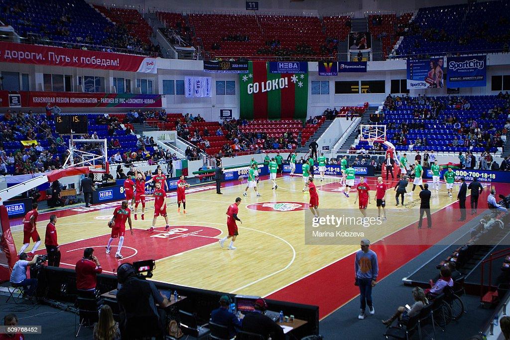 Lokomotiv Kuban Krasnodar before the Turkish Airlines Euroleague Basketball Top 16 Round 7 game between Lokomotiv Kuban Krasnodar v Darussafaka Dogus Istanbul at Basket Hall on February 12, 2016 in Krasnodar, Russia.