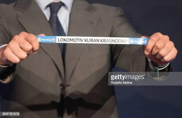 Lokomotiv Kuban Krasnodar is drawn during the 20172018 7Days EuroCup Draw at Imagina Centre Audiovisual on July 6 2017 in Barcelona Spain