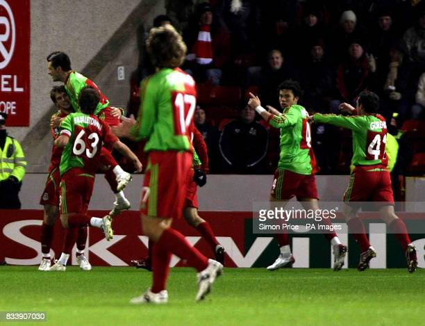 Lokomotiv Moscow celebrate their equaliser from Branislav Ivanovic during the UEFA Cup match at the Pittodrie Stadium Aberdeen