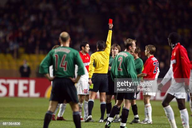 Lokomotiv Moscow's Dmitri Loskov is sent of by referee Lucilio Cardoso Cortez Batista