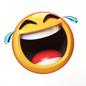 LoL Emoji isolated on white background, laughing face emoticon 3d rendering