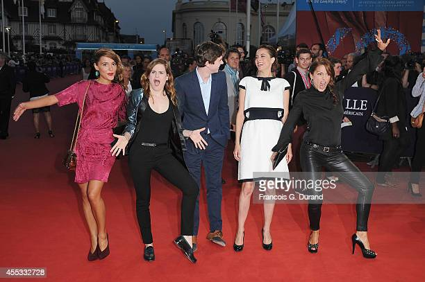 Lola Bessis singer Christine and the Queens Freddie Highmore Anne Berest and Audrey Dana attend the 'Get On Up' premiere during the 40th Deauville...