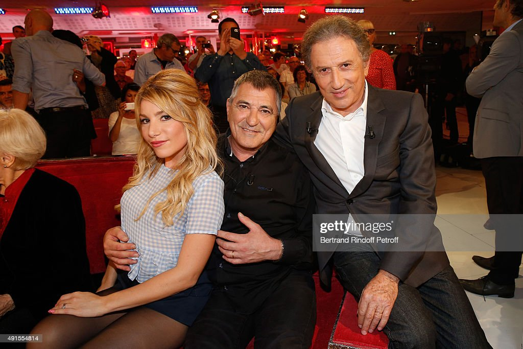Lola Bigard, her husband, Main guest of the Show Jean-Marie Bigard and Presenter of the show Michel Drucker attend the 'Vivement Dimanche' French TV Show at Pavillon Gabriel on October 6, 2015 in Paris, France.