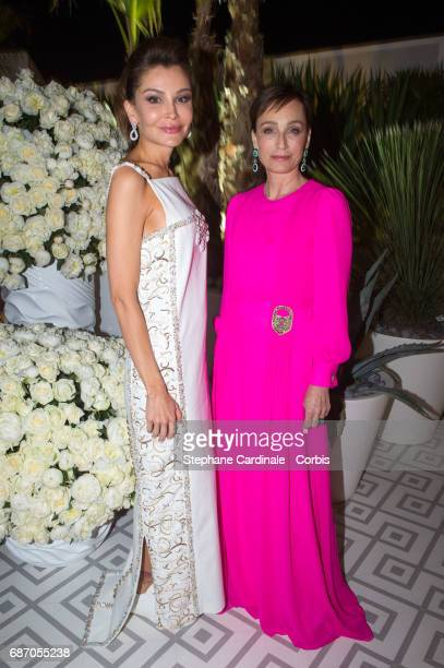 Lola KarimovaTillyaeva and Kristin Scott Thomas attend The Harmonist Party during the 70th annual Cannes Film Festival at on May 22 2017 in Cannes...